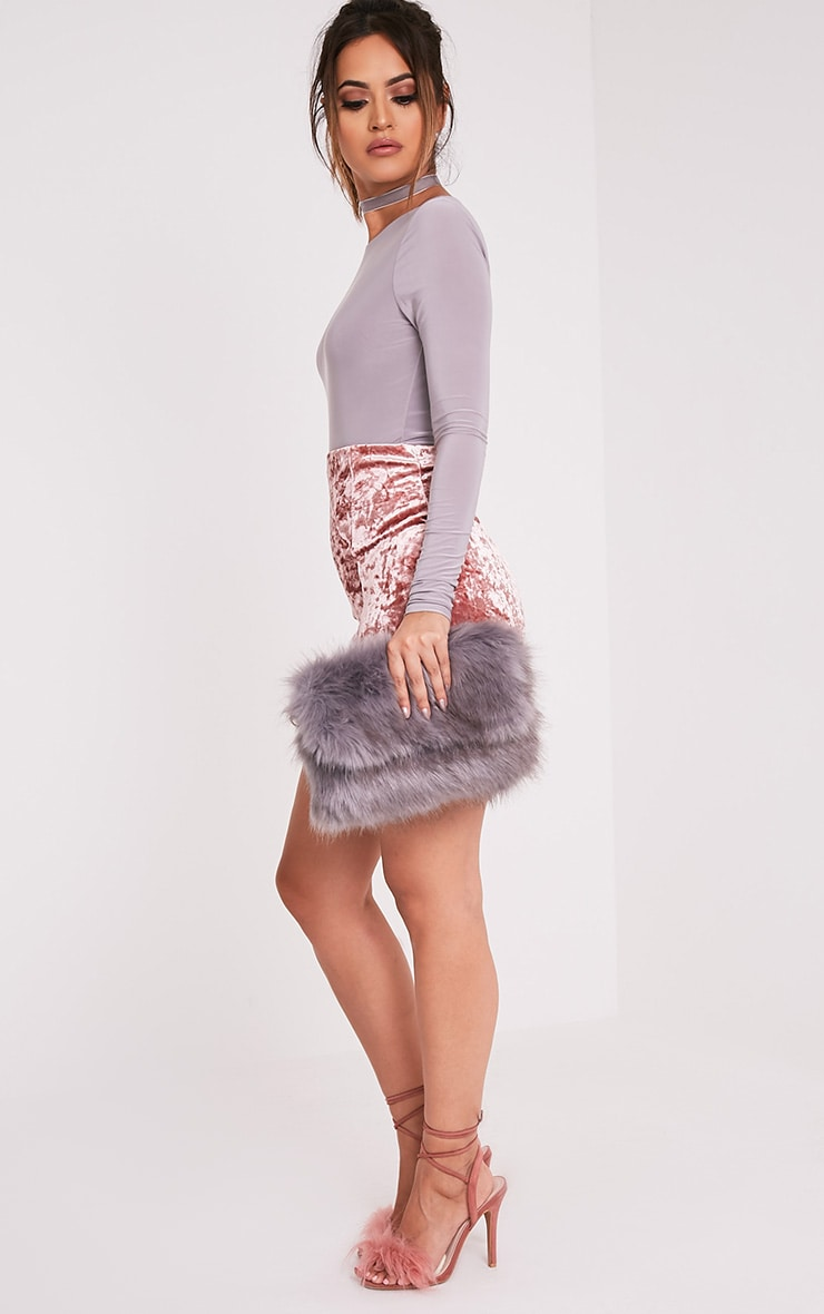 Kylah Grey Faux Fur Clutch Bag 3