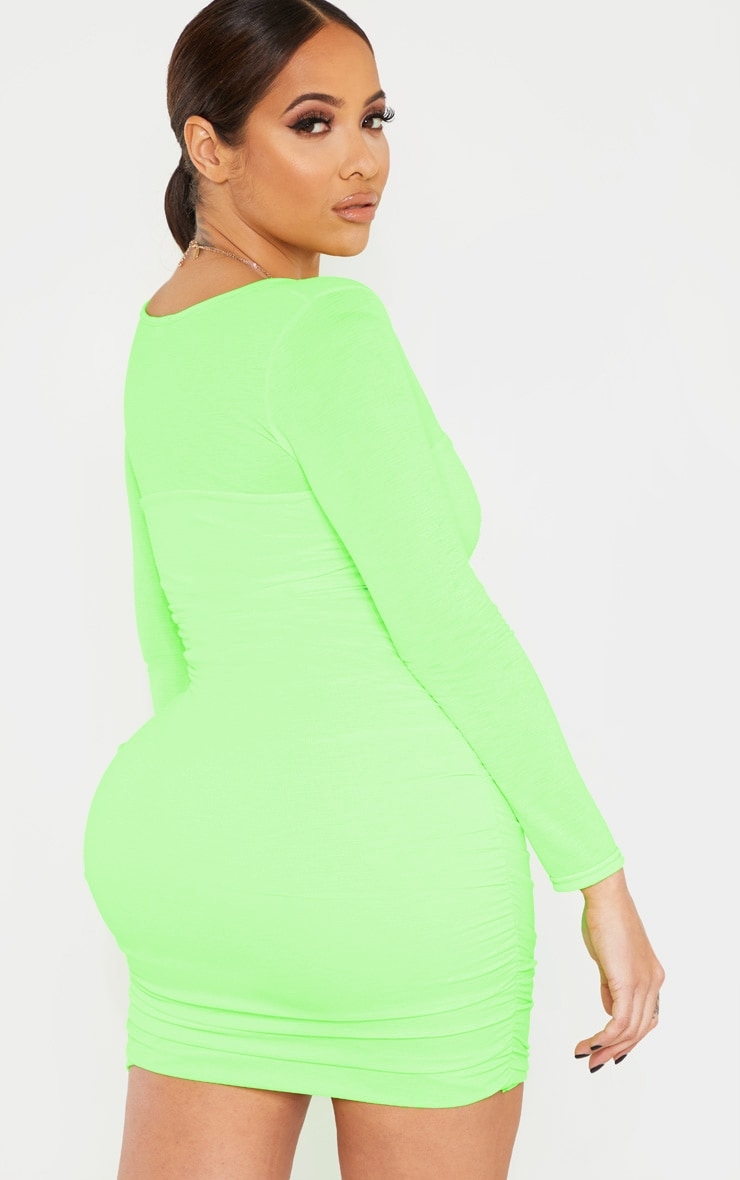 Shape Neon Lime Ruched Square Neck Bodycon Dress 2