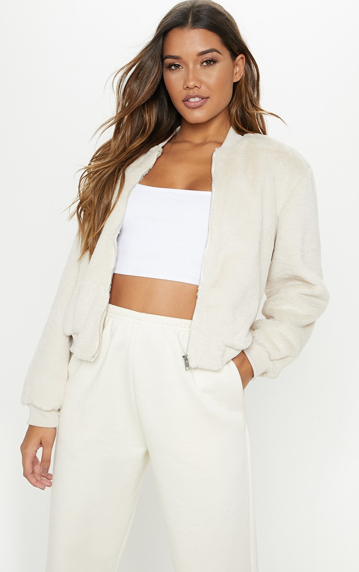 Cream Faux Fur Cropped Bomber