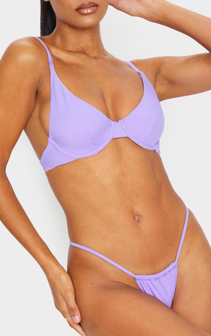 Lilac Recycled Mini Adjustable Tanga Bikini Bottom