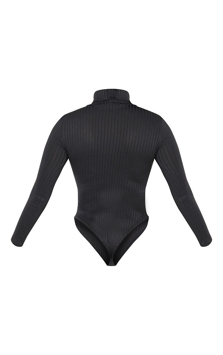 Petite Black Rib Roll Neck Long Sleeve Bodysuit 4