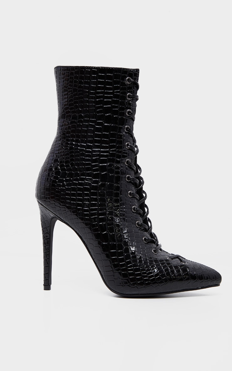 Black Croc Lace Up High Point Ankle Boot 3