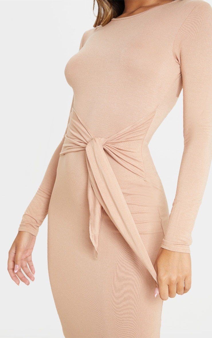 Camel Tie Waist Long Sleeve Midi Dress 5