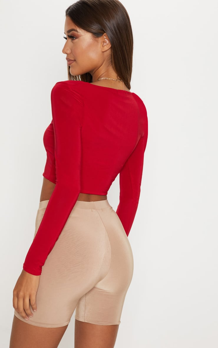 Red Second Skin Square Neck Long Sleeve Crop Top  2