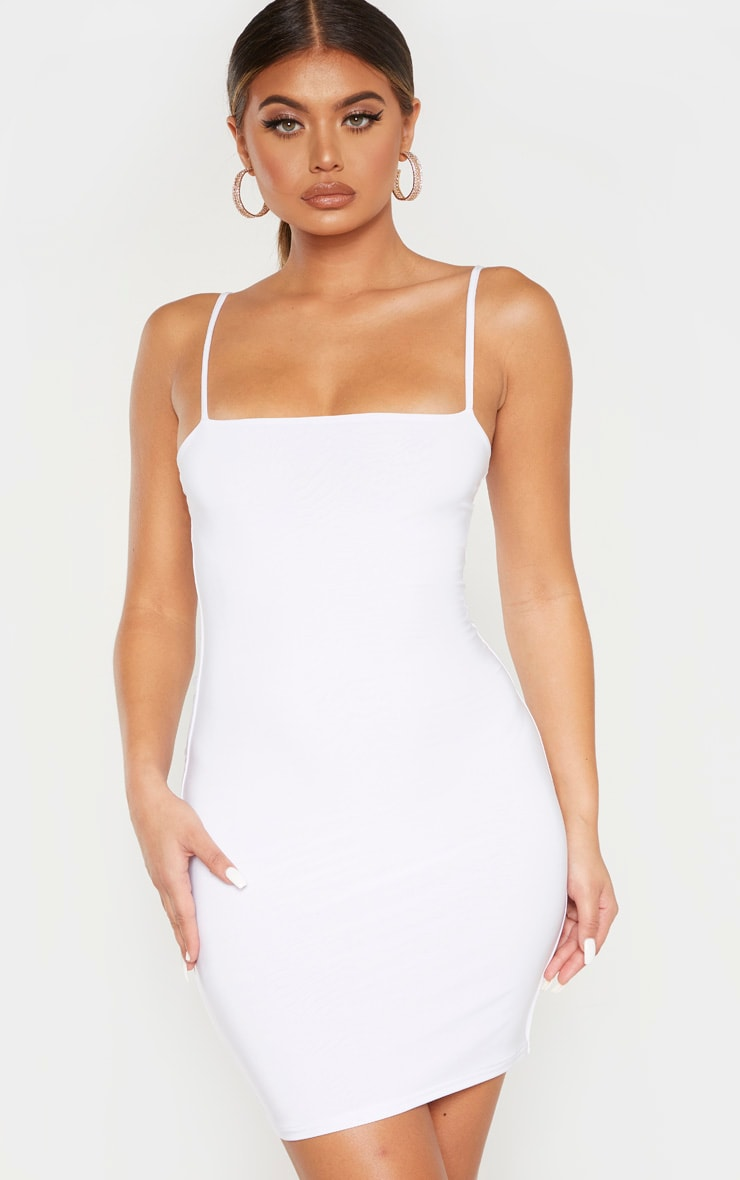 White Slinky Strappy Ruched Back Bodycon Dress 2