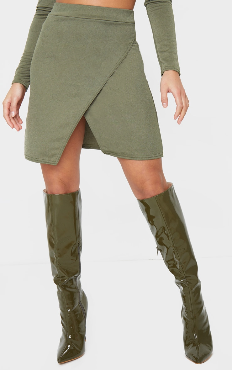 Petite Olive Green Crepe Oriental Wrap Skirt 2