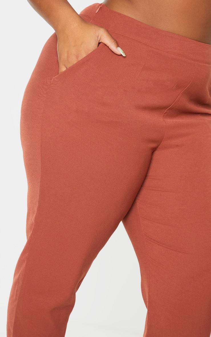 Plus Chocolate Brown Tailored Pants 6