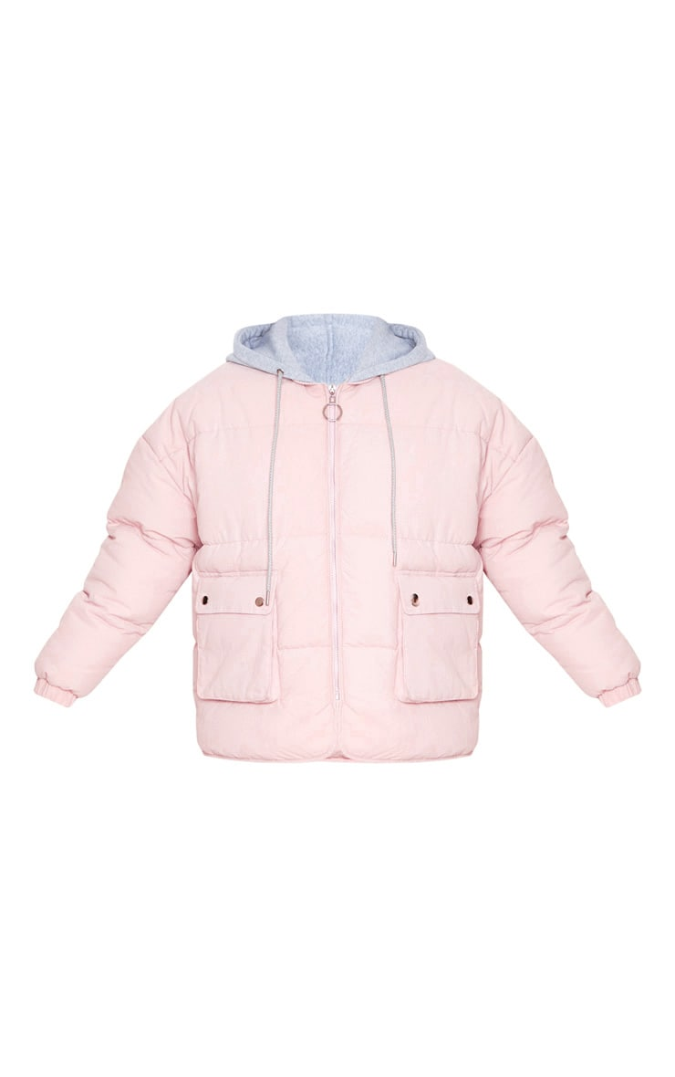 Pale Pink Peach Skin Oversized Hooded Puffer 3
