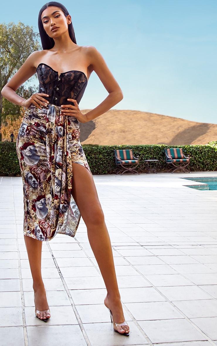 Multi Baroque Renaissance Print Drape Front Midaxi Skirt 1