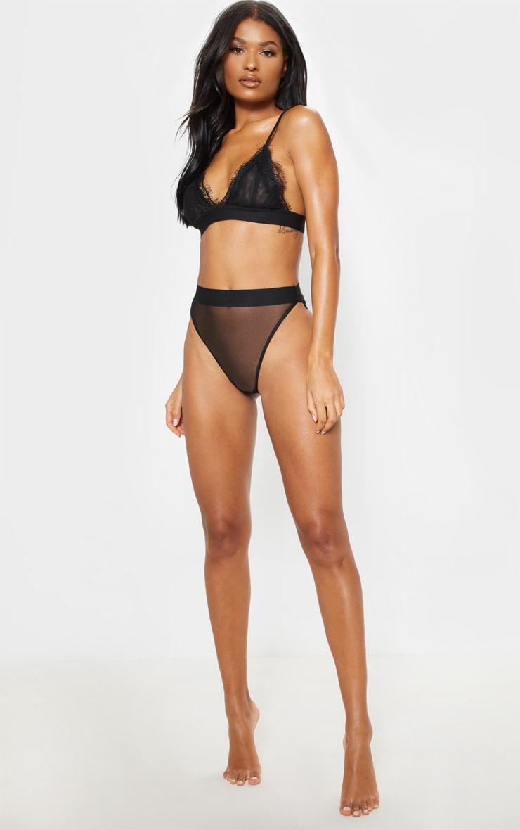 Black Mesh And Eyelash Lace Triangle Bra 4