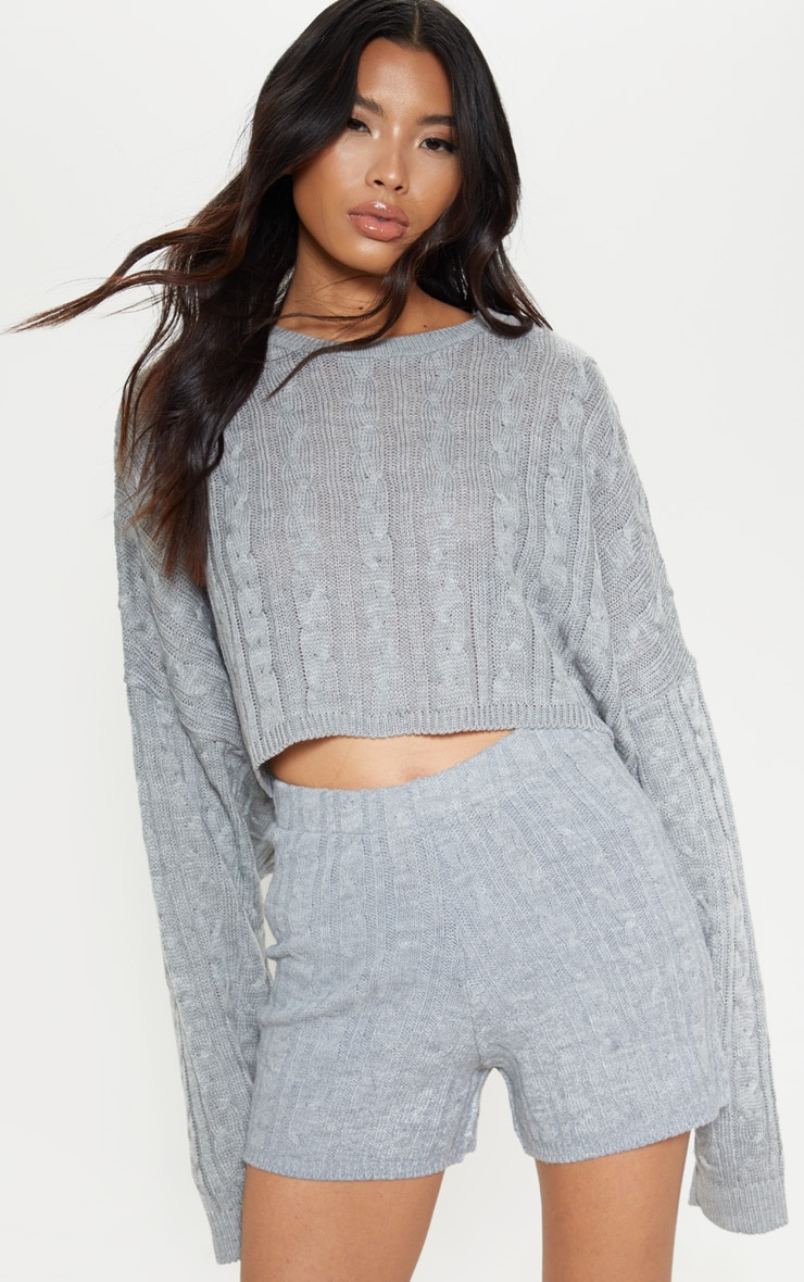 Grey Cable Knit Short 5
