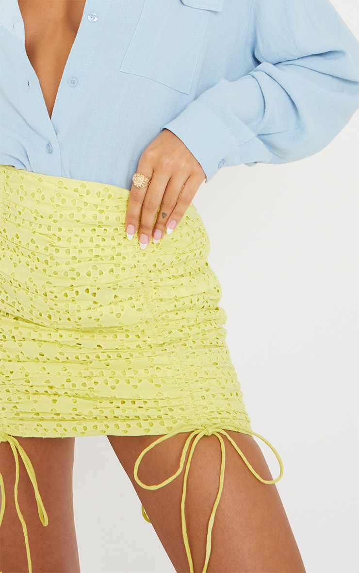 Pale Yellow Broderie Ruched Mini Skirt 5