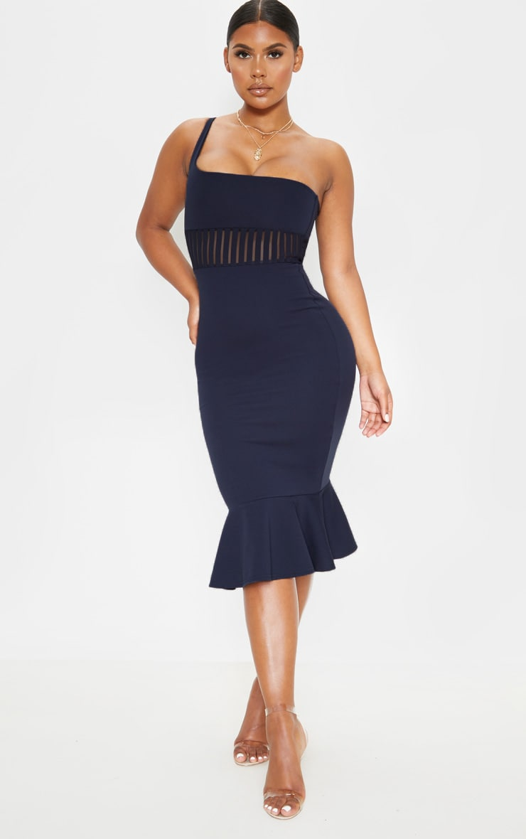 Navy Mesh Trim One Shoulder Bodycon Dress