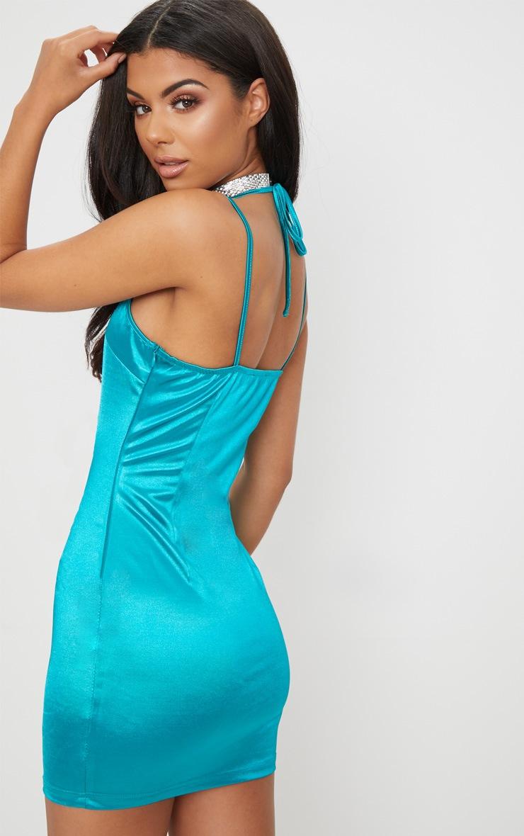 Teal Strappy Slinky Diamante Detail Bodycon Dress   2