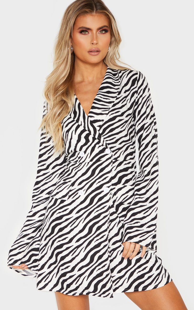 Tall Zebra Long Sleeve Blazer Double Button Dress 4