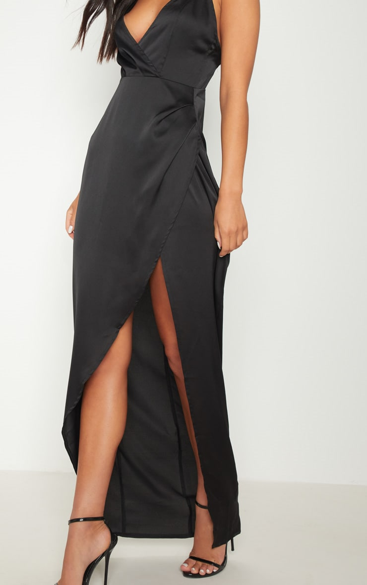 Black Asymmetric Sleeve Cut Out Split Leg Maxi Dress  5