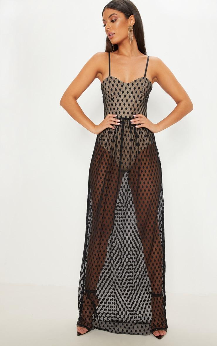 Black Spotty Mesh Sheer Maxi Dress  1