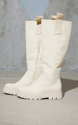 Cream Rubber Chunky Sole Welly Boots 3