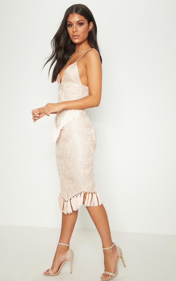 Dusty Pink Lace Tassel Trim Plunge Midi Dress 3