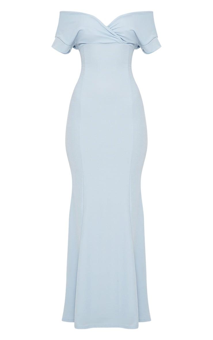 Dusty Blue Off The Shoulder Plunge Maxi Dress 3