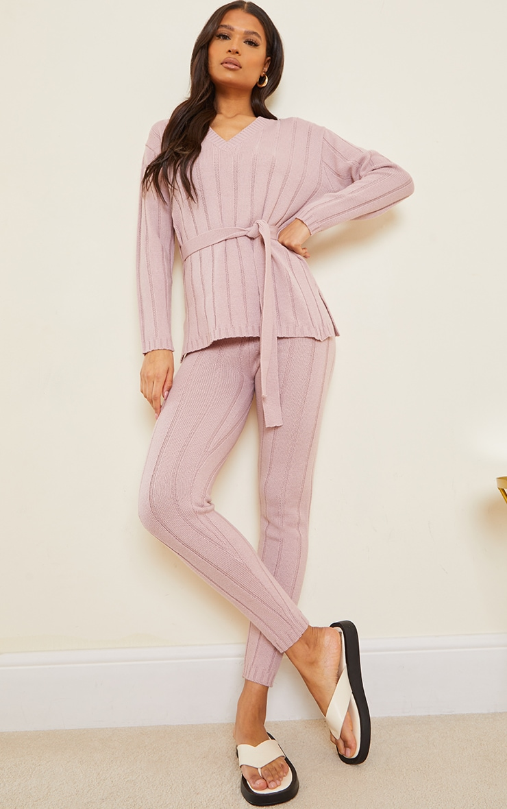 Rose Belted Longline Jumper And Legging Lounge Set 3