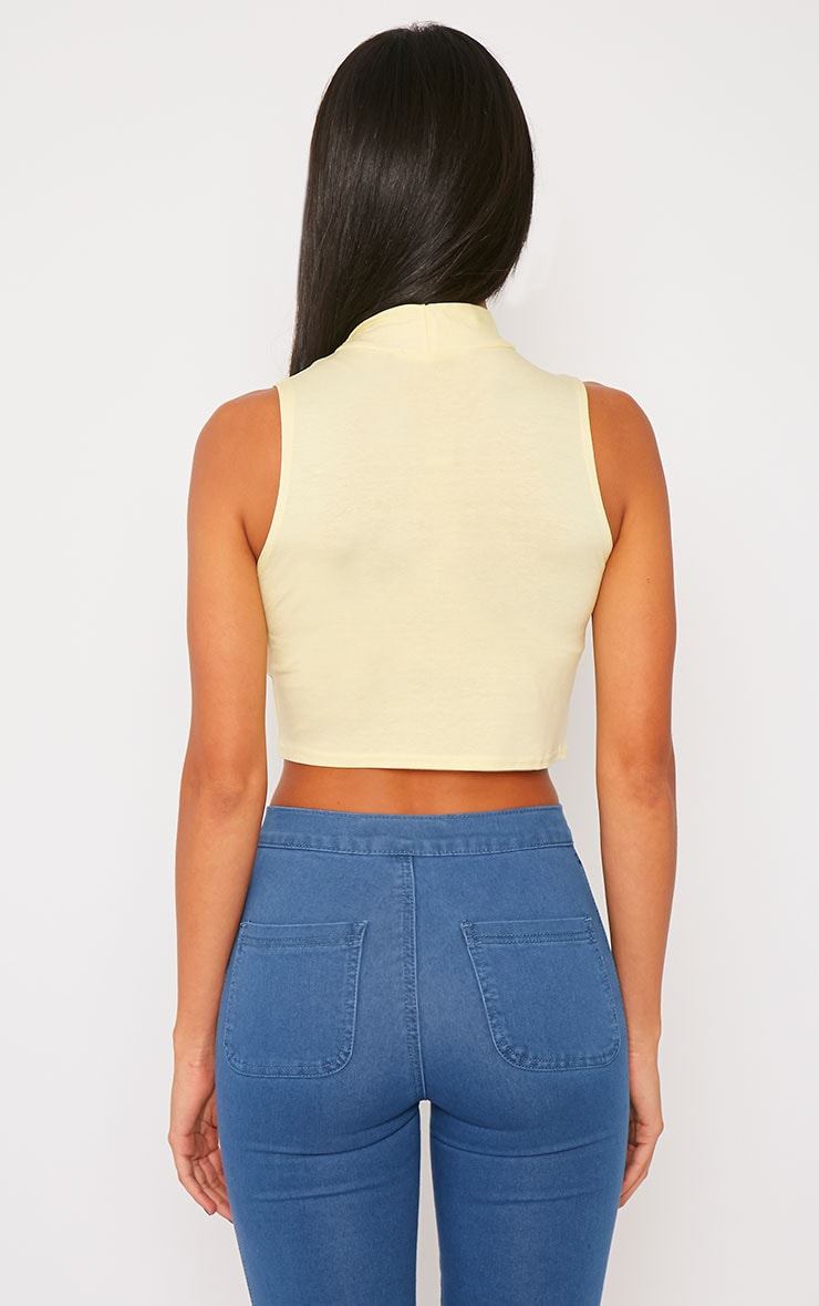 Basic Yellow Jersey High Neck Crop Top 2