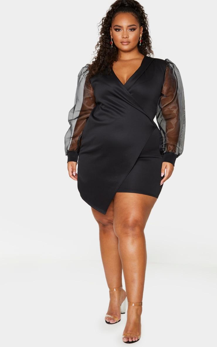 Plus Black Organza Sleeve Wrap Dress 3