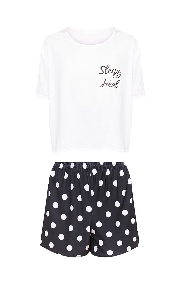 Polkadot Sleepy Head Slogan PJ Set 3