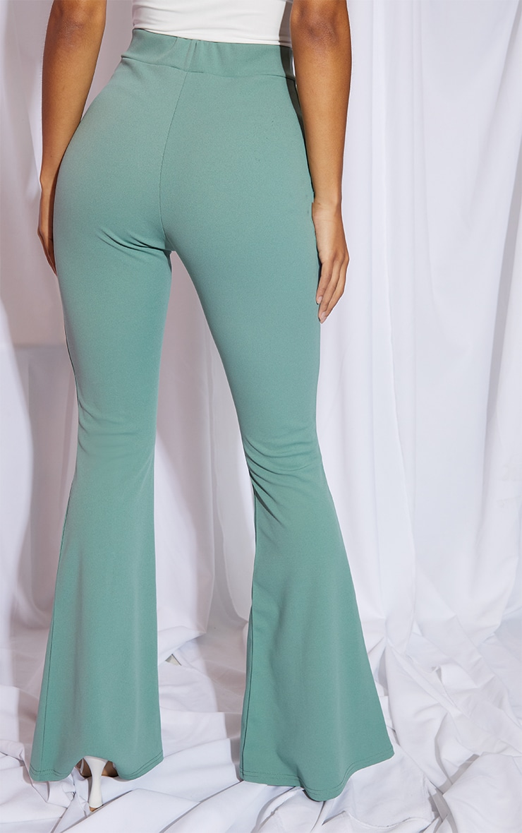 Sage Green Split Hem Flared Pants 3