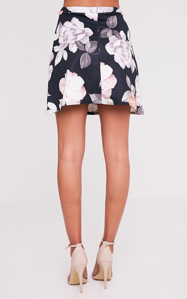 Deltie Nude Floral Print A-Line Mini Skirt 5