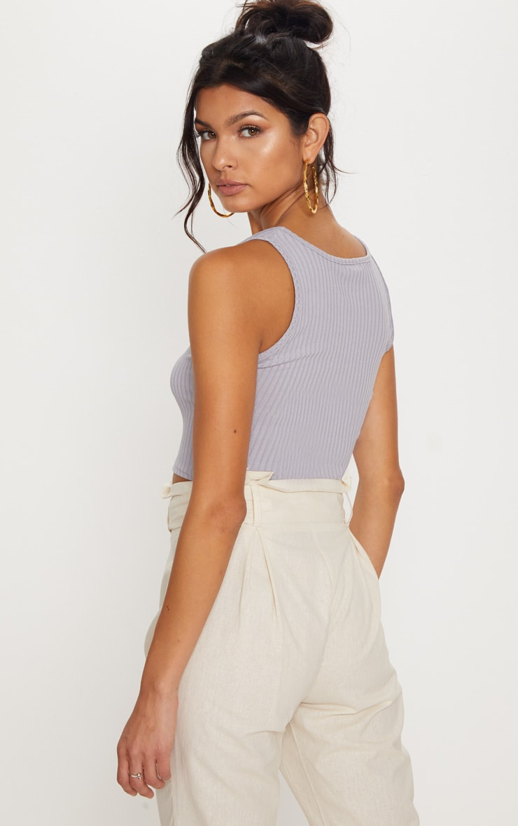 Grey Ribbed Button Detail Crop Top 2