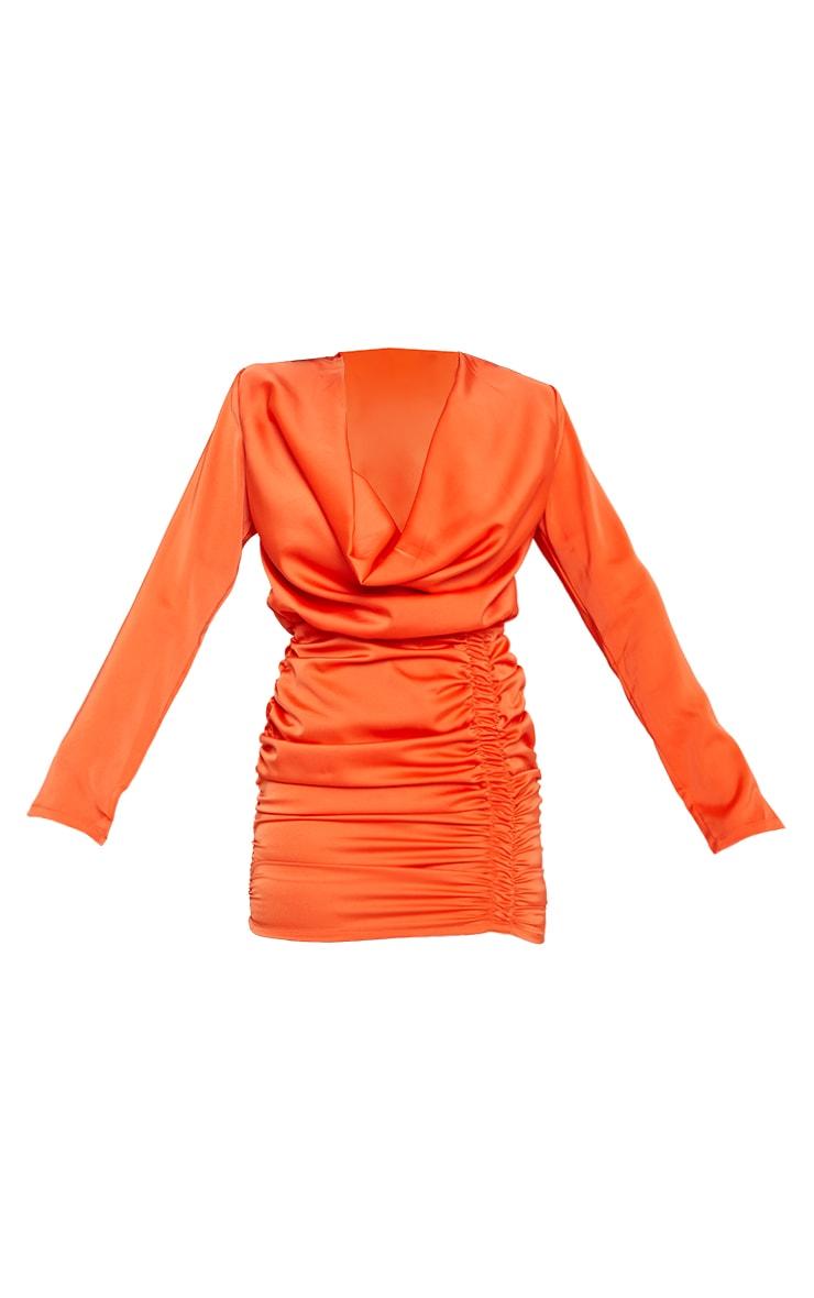 Orange Satin Cowl Neck Shoulder Pad Bodycon Dress 5
