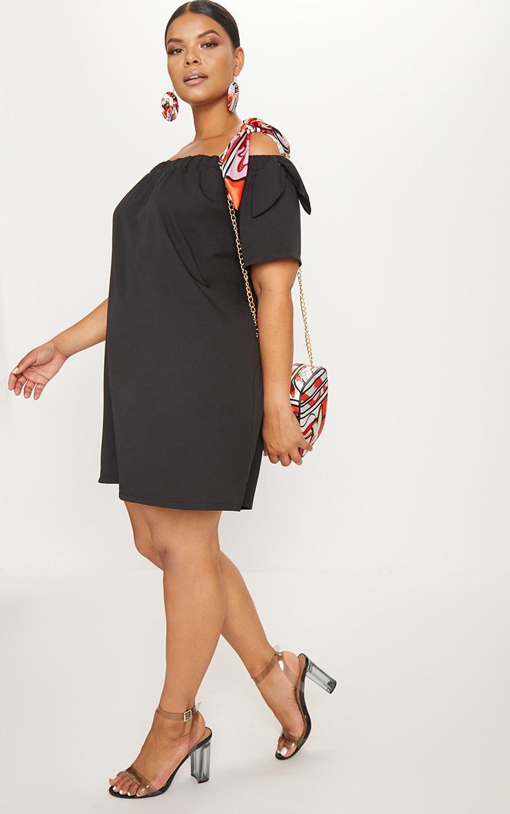 Plus Black Crepe Bardot Swing Dress 4