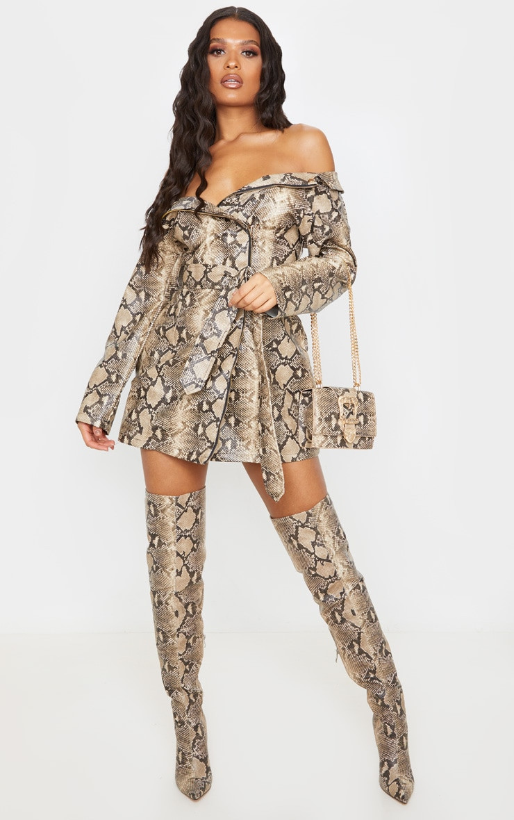 Taupe PU Snake Bardot Blazer Dress 4