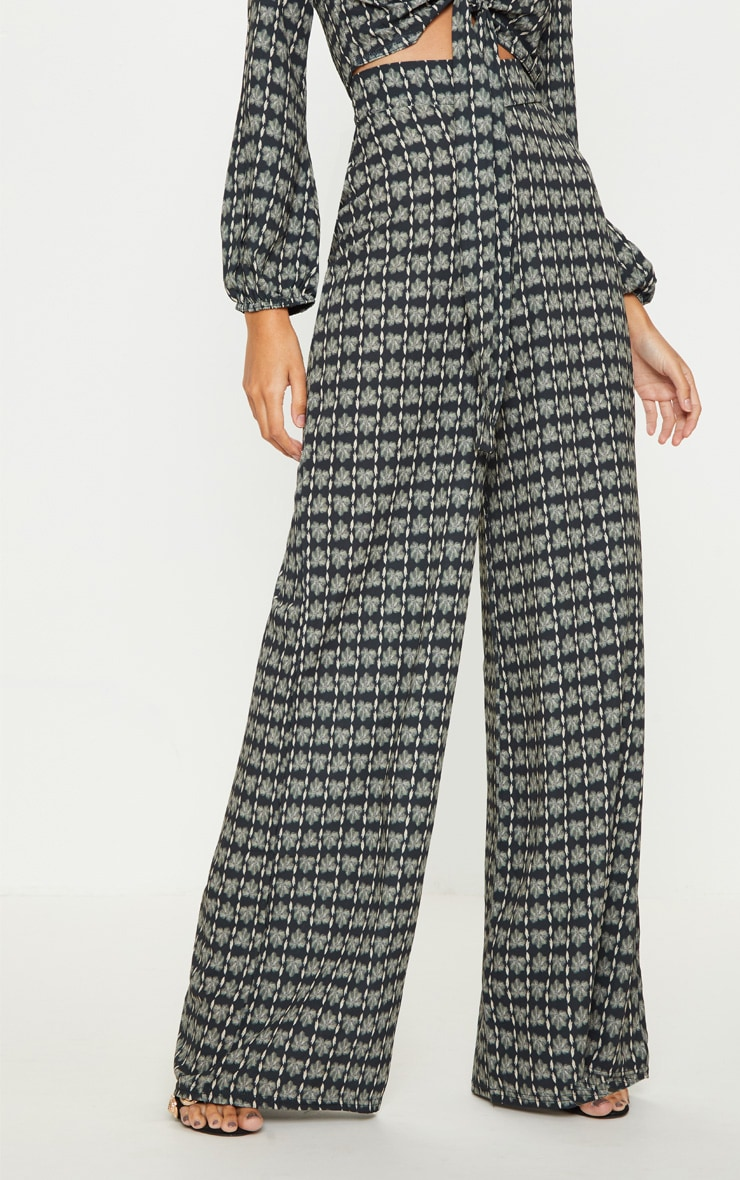 Grey Printed Wide Leg Trousers 2