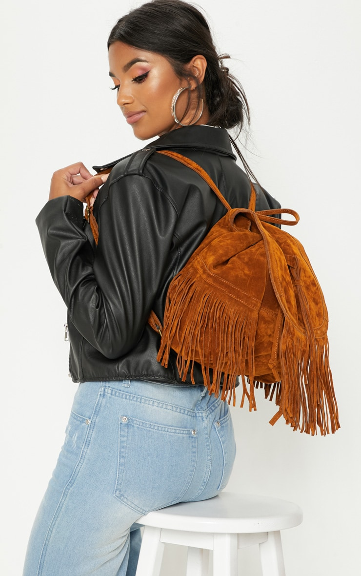 Tan Suedette Fringe Backpack 1