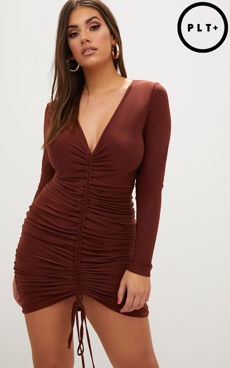 Plus Chocolate Ruched Front Slinky Mini Dress 1