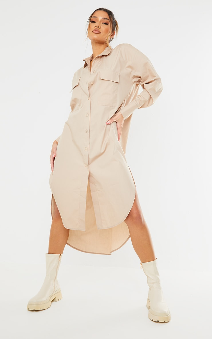 Stone Deep Pocket Drop Hem Midi Shirt Dress 3