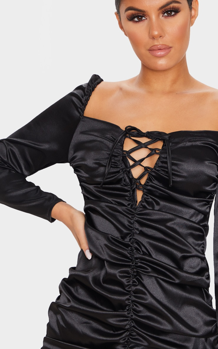 Black Satin Ruched Lace Up Detail Bodycon Dress 5
