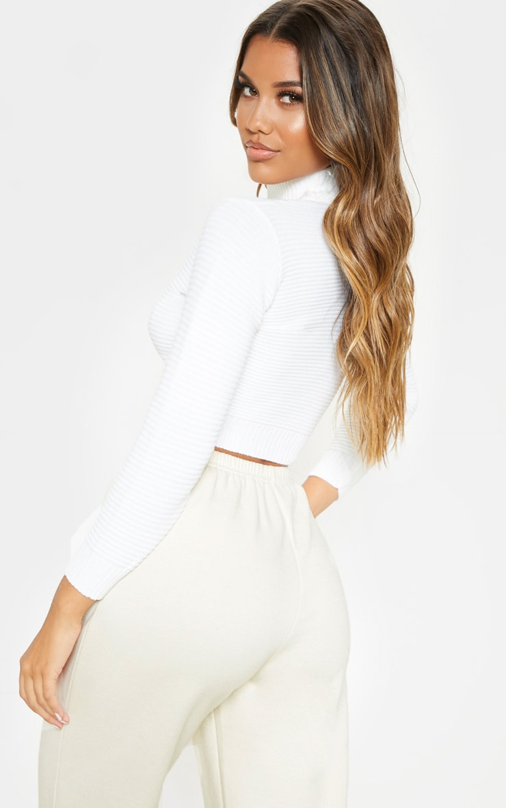 Cream Ribbed Crop Knitted Jumper  2