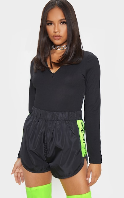 Black Crepe Zip Front Long Sleeve Bodysuit