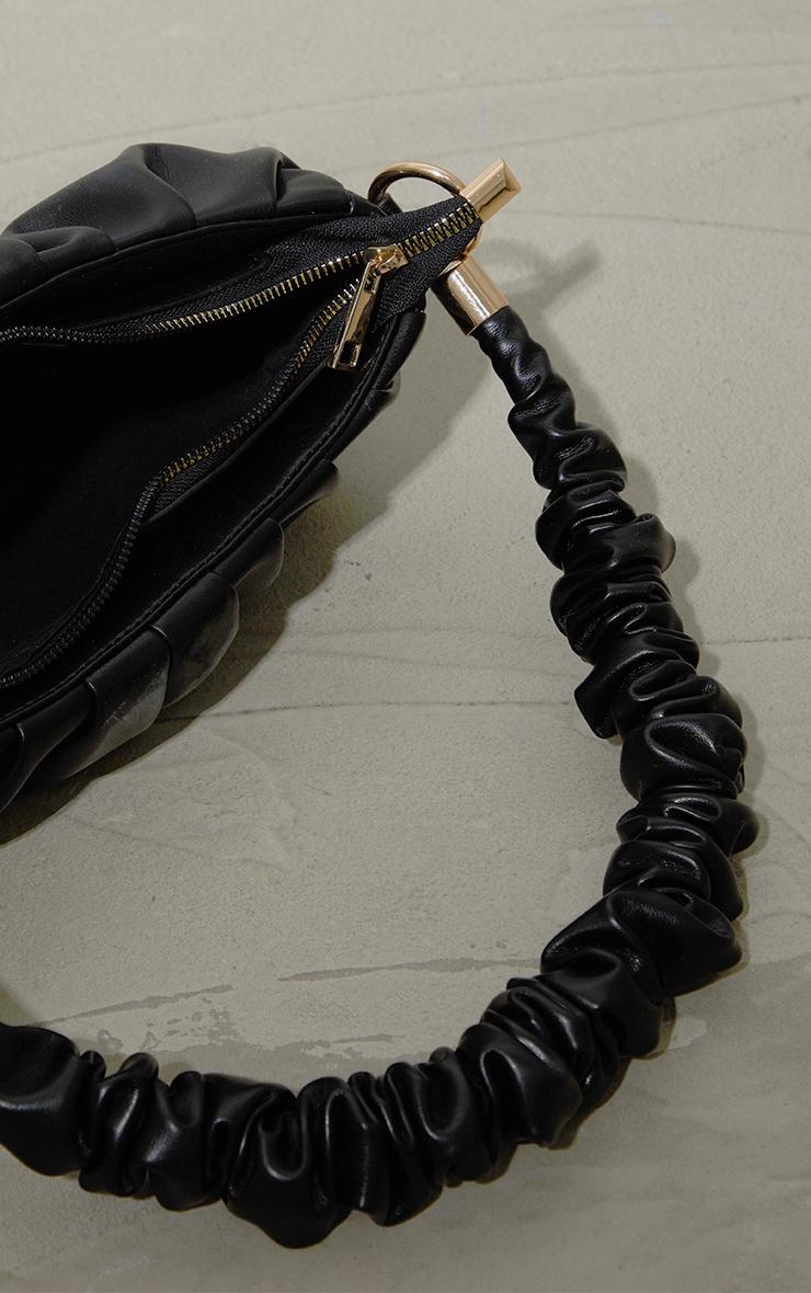 Black Ruched Front And Handle Shoulder Bag 3