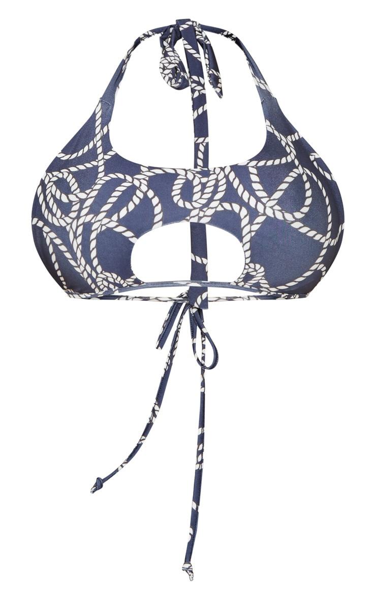 Navy Rope Print Cut Out Tie Bikini Top 3