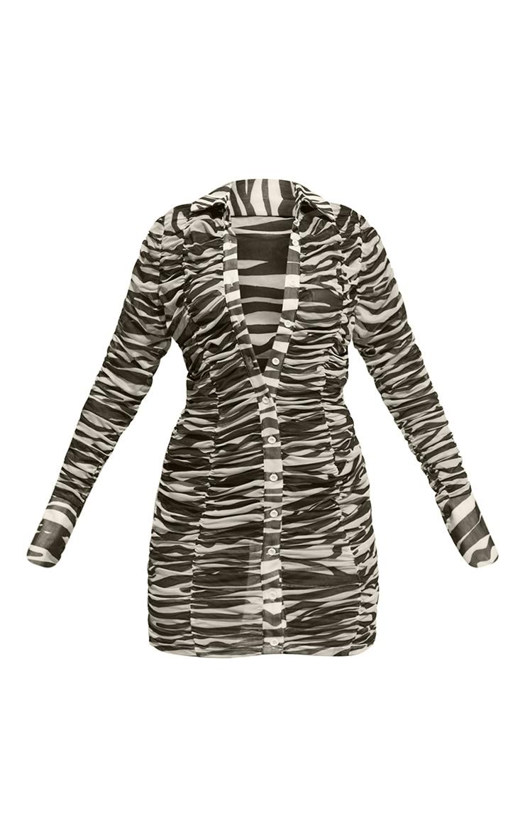 Monochrome Zebra Print Mesh Ruched Oversized Cuff Shirt Dress 5