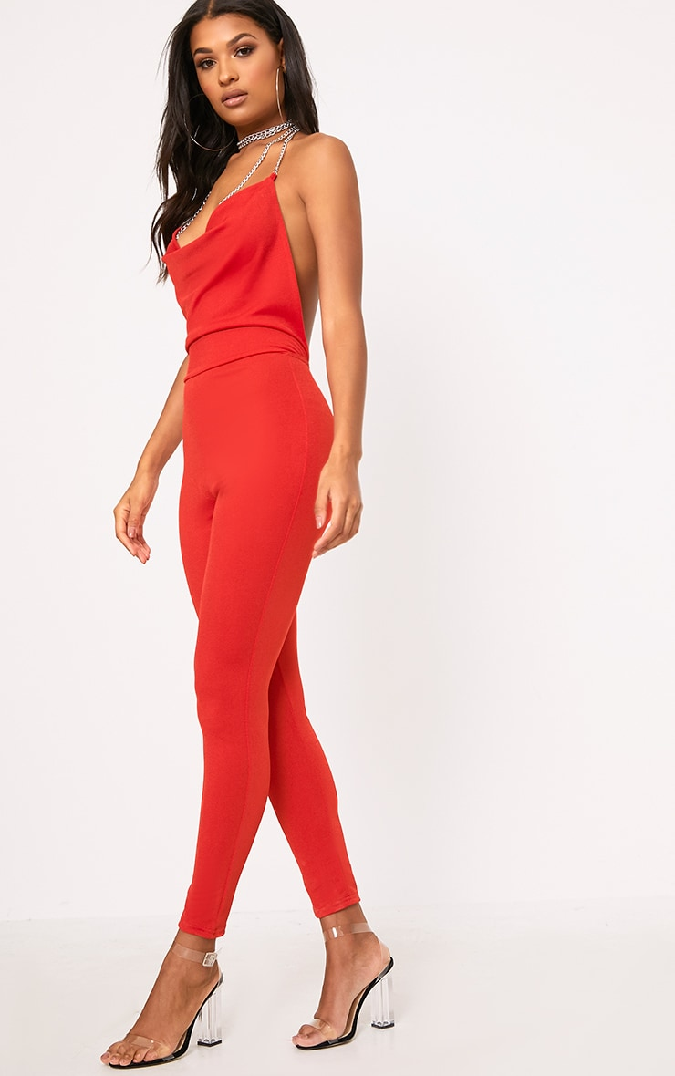 Red Chain Scoop Front Jumpsuit  4