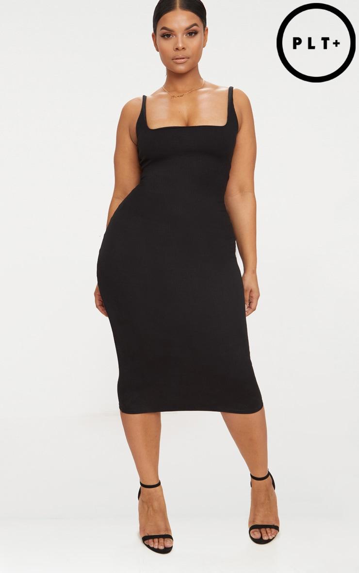 Plus Black Ribbed Square Neck Midi Dress 1