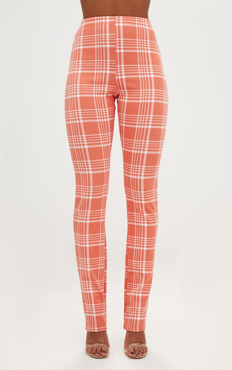 Orange Check Print Tapered Trousers  2
