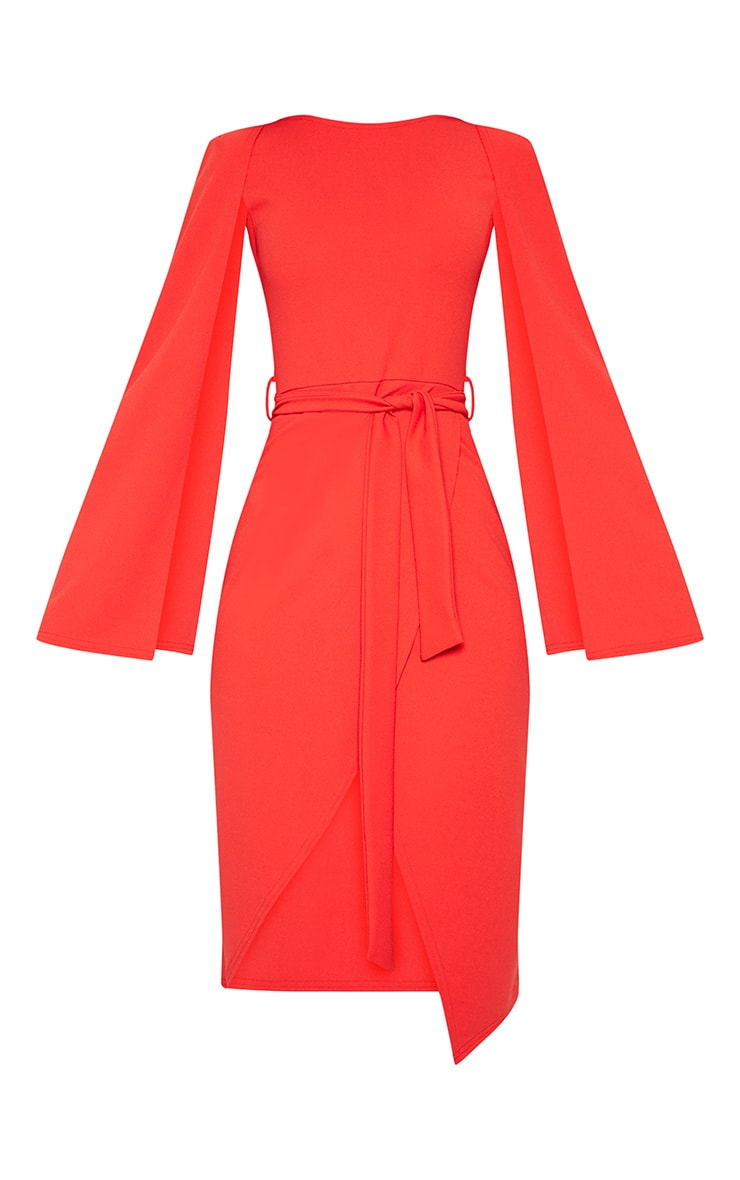 Red Cape Style Wrap Midi Dress 2