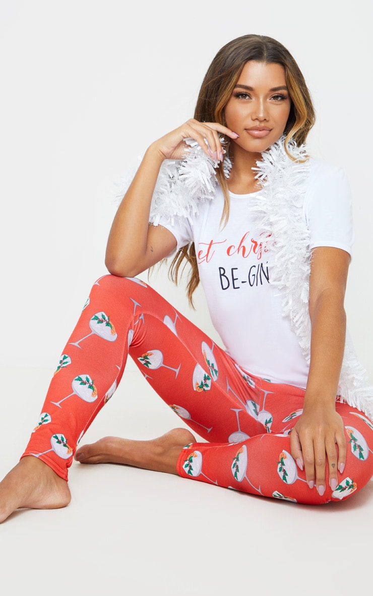 Red Let Christmas Be-Gin PJ Set 4