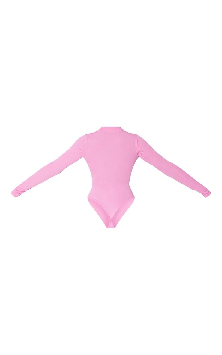 Hot Pink Rib Zip Up Long Sleeve Bodysuit 6
